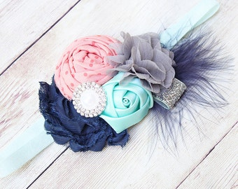 Love at First Flight- navy, peach coral mint and silver headband