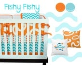Fishy Fishy Crib Bedding, Baby Bedding, Underwater, Ocean, Fish, Orange and Aqua Gender Neutral Nursery Bedding
