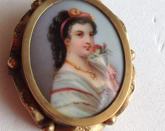Victorian Brooch Hand Painted Porcelain Young Lady