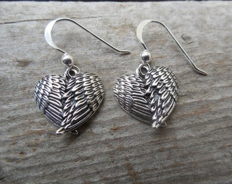 Angel wing earrings handmade in sterling silver 925
