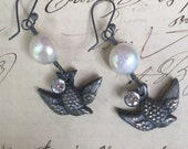 TAKE FLIGHT - Beautiful Pearl, Paste and Victorian Bird Earrings