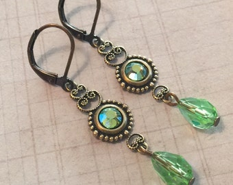 Peridot AB Crystal  Antiqued Brass Filigree Leverback Earrings