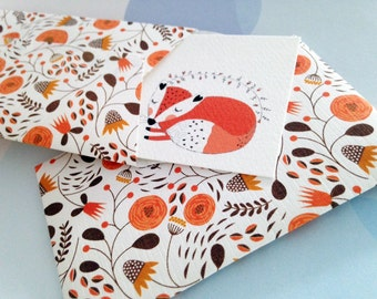 Fox Mini Cards, Gift Enclosure Card, Mini Cards and Envelopes, Gift Card Holder, Set of 10