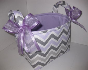 Grey Purple Chevron Zig Zag Fabric Organizer Bin / Basket / Diaper Caddy - Personalization Available