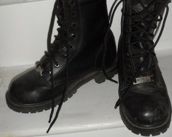 harley davidson boots mens size 8 zip up sides and lace up oil resistant