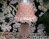 Vintage pink glass lamp candle wick glass and shade