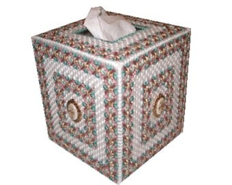 Plastic Canvas Rose Bud Tissue Box Cover PDF Format Instant Download
