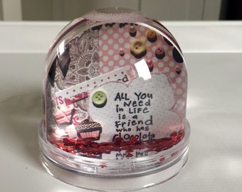 snow globe with chocolate theme in pink with name and monkey