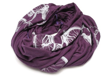 Bicycle Print Infinity Scarf in Purple and grey