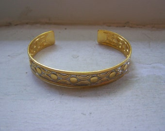 Gold Silver Embossed Cuff Bracelet