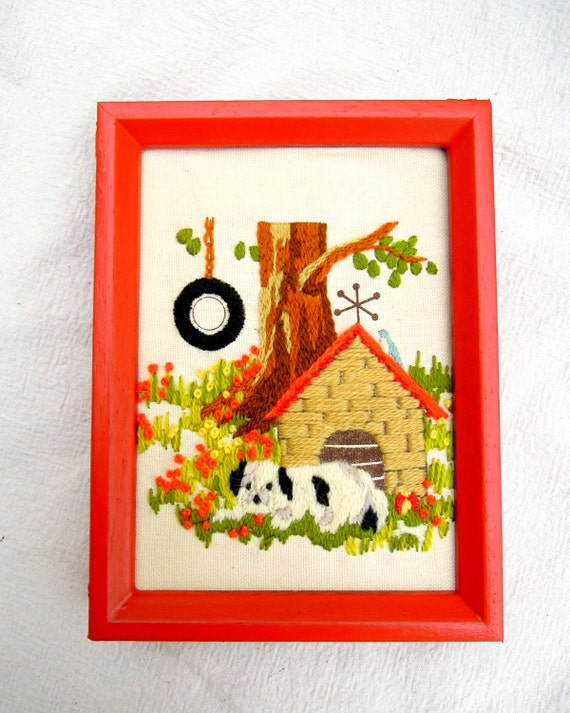 vintage embroidered dog.coral.orange.crewel.picture.home decor.handmade.tessiemay