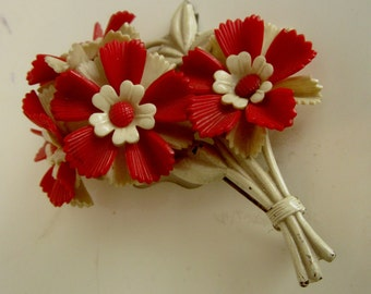1920s Red & White Celluloid Flower Corsage Brooch