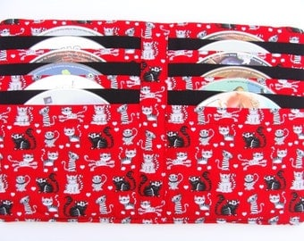 CD DVD Video Game Disc Case Book Holder Storage Sleeves Cases Car Travel - Happy Smiling Kitty Fabric