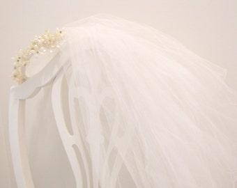 Antique 1920's Wax Flower Bridal Headpiece with Veil Wedding Crown Rhinestones 1920's from AllieEtCie