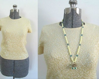 Yellow Cashmere Sequined Shell Top / Saks Fifth Avenue Size Medium Pullover Sweater