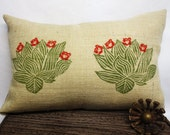 Hand Block Printed Burlap Green Cactus Agave Kidney Lumbar Cushion with Red Floral Detail