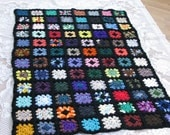Crocheted Traditional Granny Square Lap Throw Afghan Trimmed in Black with Scalloped Edge