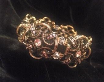 Gold and Crystal Stretch Bracelet