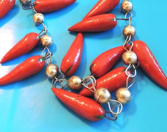 Chili Pepper Necklace Native American Sterling Silver Vintage Jewelry