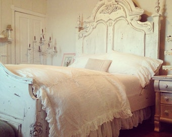 Extra Long Washed Linen Gathered Queen Bedskirt-Ruffled Queen Bed Coverlet-Bright White or Vintage White Washed Linen