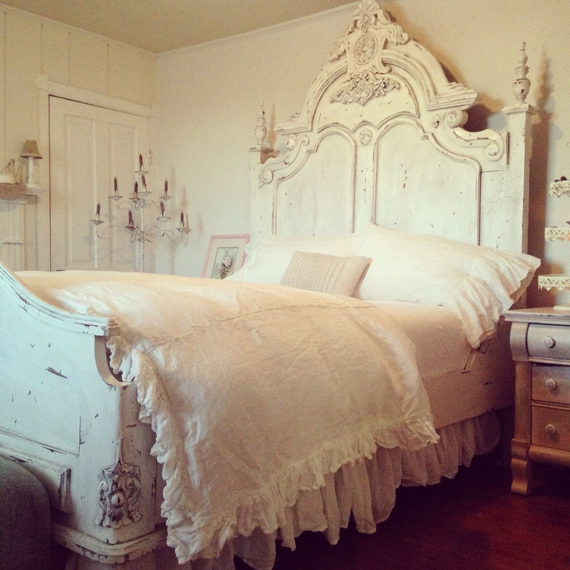 extra long washed linen gathered queen bedskirt ruffled queen. Black Bedroom Furniture Sets. Home Design Ideas