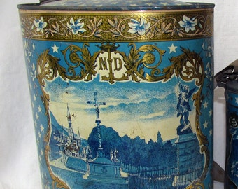 Vintage Large French Lourdes Holy Water Canister Jug Tin Illustrated Bernadette & Mary