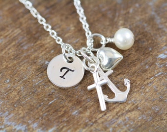 Faith Hope Love Charm Initial Necklace, Cross Anchor Heart Charm Pendant, Sterling Silver