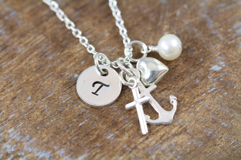 Faith hope love charm initial necklace cross anchor heart for Faith hope love jewelry