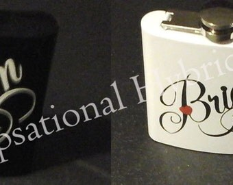Hip Flasks,Wedding Gift, Bridal Party Giftss - Personalized- Stainless Steel