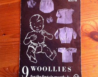 vintage knitting booklet bought in the UK 9 Woolies for the first 6 months by Patons and Baldwins