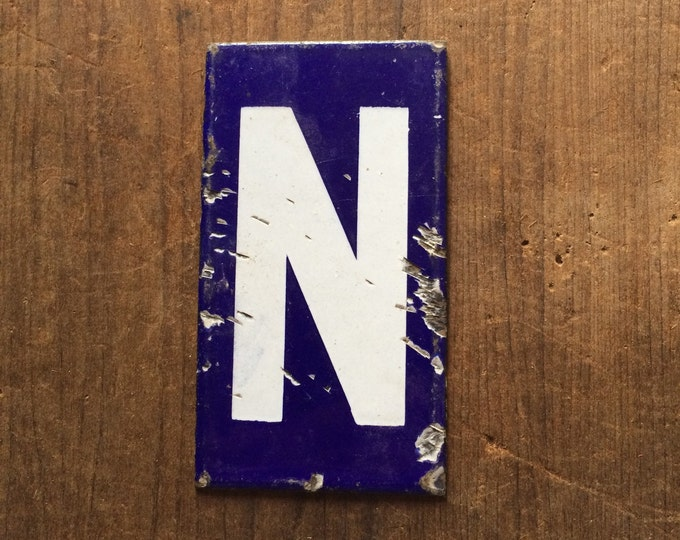 Antique Enamel Letter N Vintage Porcelain Sign Cobalt Blue
