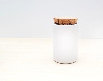 White Ceramic Spice Jar with Cork