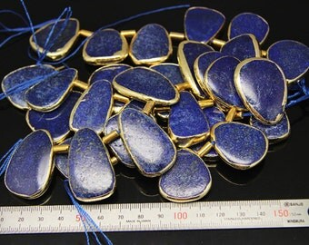 1strand(0001) - natural lapis lazuli plated luster gold edge
