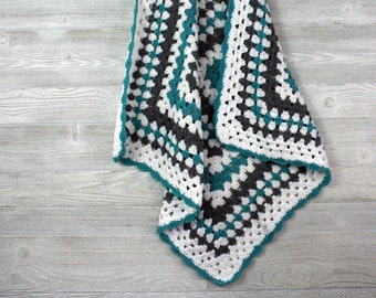 Granny Square Baby Blanket - crochet baby afghan, turquoise, gray, and white