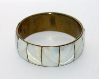 Ivory Mother of Pearl Bangle Bracelet