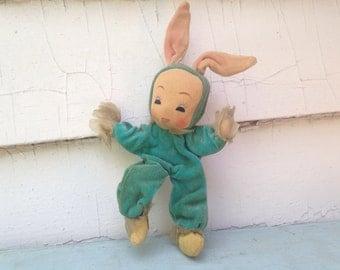 the velveteen rabbit, vintage 1950s posable BLUE BUNNY doll