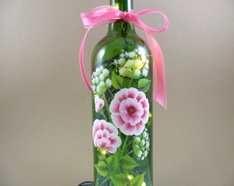 Lighted Wine Bottle Pink Wild Rose Babys Breath Hand Painted Flowers 750 ml