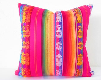 Tribal Pillows 20 Inch Aztec Mexican Ethnic pink Throw Boho Chic Decor Global Geometric Striped Purple red black orange green white