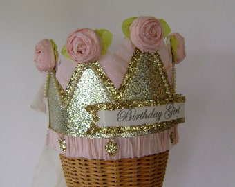Birthday crown, Girl birthday hat, adult birthday hat,  Gold and pink,