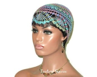 Blue Pineapple Lace Cloche, Purple,Violet, Multicolor, Variegated, Lace Beanie, Hand Crocheted, Lace Hat, Crocheted Lace, Pineapple Lace Cap