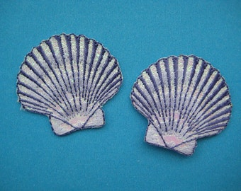 2 pcs Iron-On embroidered Patch Sea Shell (purple) 1.6 inch