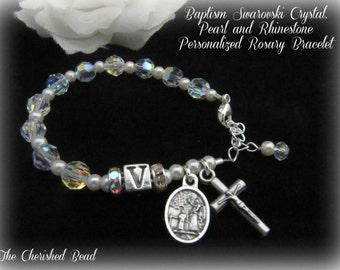 Catholic Baby Baptism Personalized Swarovski Clear Crystal and Pearl Rosary Bracelet