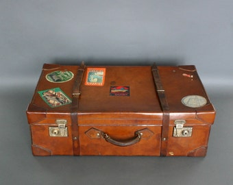 English Vintage Leather Suitcase - Circa 1920's