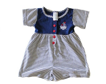 Vintage 90s Sailing Romper One Piece - Nautical, blue and white stripes, Girls 4T, Healthtex 10 Dollar Sale