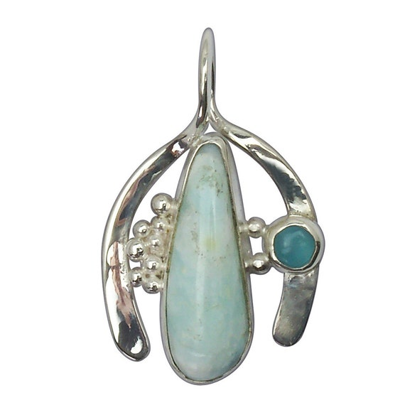 Blue Peruvian Opal, Topaz and Sterling Silver Pendant, poplg2517