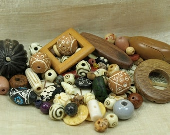 Grab Bag of Mixed Naturals; Bone, Wood, Shell, Horn, Nuts, Pods and More! MIX4039