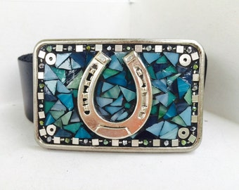 Horseshoe Buckle, To Bring Luck, Lucky Horseshoe Belt, Equestrian gift, Stained Glass Buckle, Turquoise Buckle, Barrel Racing, Rodeo, Horses