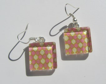 Fun Mauve Pink Earrings, Glass Dangle Earrings, Summer Earrings