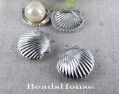 6pcs - 23mm Silver Plated Brass Shell  Lockets Pendant - Locket