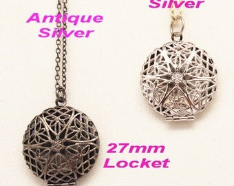 10%OFF- 1pcs Antique Silver, Silver Plated Round Shape Filigree Locket With Necklace, NICKEL FREE